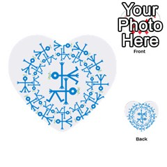 Blue Birds And Olive Branch Circle Icon Multi-purpose Cards (Heart)