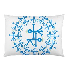 Blue Birds And Olive Branch Circle Icon Pillow Cases