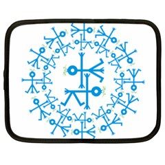 Blue Birds And Olive Branch Circle Icon Netbook Case (XXL)