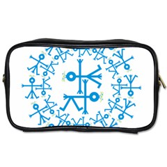 Blue Birds And Olive Branch Circle Icon Toiletries Bags