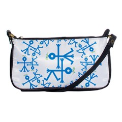 Blue Birds And Olive Branch Circle Icon Shoulder Clutch Bags