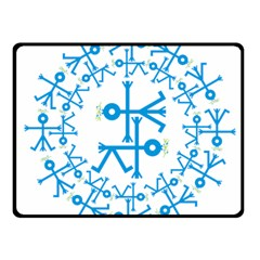 Blue Birds And Olive Branch Circle Icon Fleece Blanket (Small)