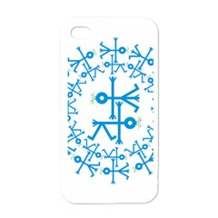 Blue Birds And Olive Branch Circle Icon Apple iPhone 4 Case (White)