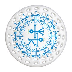 Blue Birds And Olive Branch Circle Icon Round Filigree Ornament (2side)