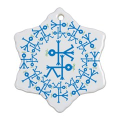 Blue Birds And Olive Branch Circle Icon Snowflake Ornament (2-Side)