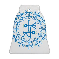 Blue Birds And Olive Branch Circle Icon Bell Ornament (2 Sides)