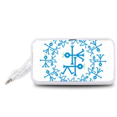 Blue Birds And Olive Branch Circle Icon Portable Speaker (White)