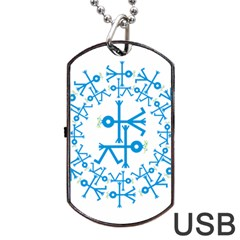 Blue Birds And Olive Branch Circle Icon Dog Tag USB Flash (Two Sides)
