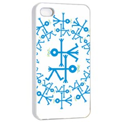 Blue Birds And Olive Branch Circle Icon Apple iPhone 4/4s Seamless Case (White)