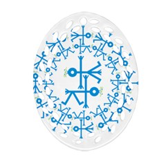 Blue Birds And Olive Branch Circle Icon Ornament (Oval Filigree)