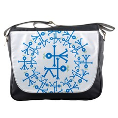 Blue Birds And Olive Branch Circle Icon Messenger Bags