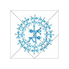 Blue Birds And Olive Branch Circle Icon Acrylic Tangram Puzzle (4  x 4 )