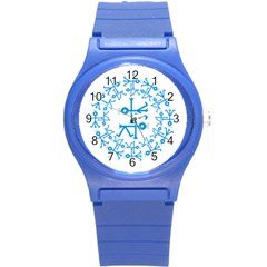 Blue Birds And Olive Branch Circle Icon Round Plastic Sport Watch (S)
