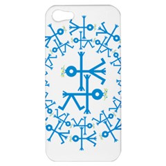 Blue Birds And Olive Branch Circle Icon Apple iPhone 5 Hardshell Case