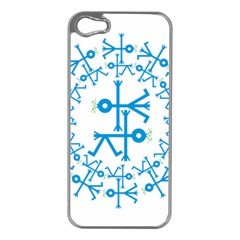 Blue Birds And Olive Branch Circle Icon Apple iPhone 5 Case (Silver)