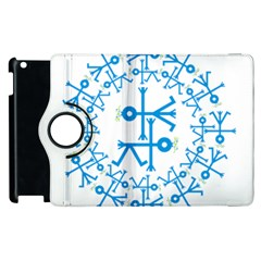 Blue Birds And Olive Branch Circle Icon Apple iPad 2 Flip 360 Case