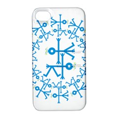 Blue Birds And Olive Branch Circle Icon Apple iPhone 4/4S Hardshell Case with Stand