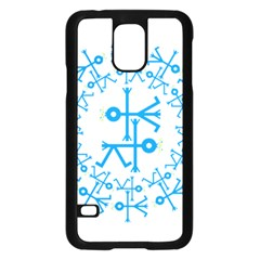 Blue Birds And Olive Branch Circle Icon Samsung Galaxy S5 Case (Black)