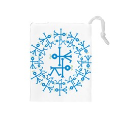 Blue Birds And Olive Branch Circle Icon Drawstring Pouches (Medium)