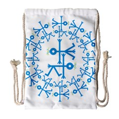 Blue Birds And Olive Branch Circle Icon Drawstring Bag (Large)