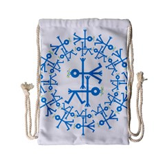 Blue Birds And Olive Branch Circle Icon Drawstring Bag (Small)