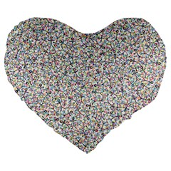 Crowd Icon Random Cmyk Large 19  Premium Heart Shape Cushions