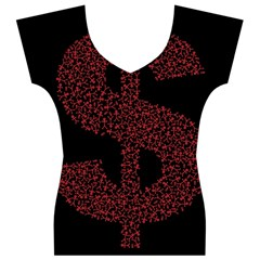 Dollar People Icon Women s V-Neck Cap Sleeve Top