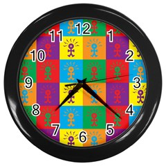 Multi Coloured Lots Of Angry Babies Icon Wall Clocks (Black)