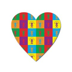 Multi Coloured Lots Of Angry Babies Icon Heart Magnet