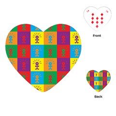 Multi Coloured Lots Of Angry Babies Icon Playing Cards (Heart)