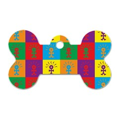 Multi Coloured Lots Of Angry Babies Icon Dog Tag Bone (One Side)