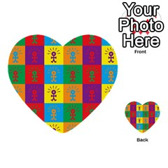 Multi Coloured Lots Of Angry Babies Icon Multi-purpose Cards (Heart)