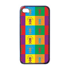 Multi Coloured Lots Of Angry Babies Icon Apple iPhone 4 Case (Black)