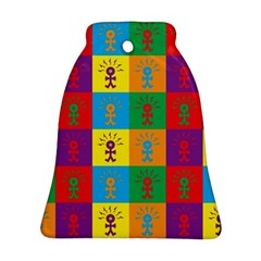 Multi Coloured Lots Of Angry Babies Icon Bell Ornament (2 Sides)