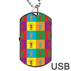 Multi Coloured Lots Of Angry Babies Icon Dog Tag USB Flash (One Side)