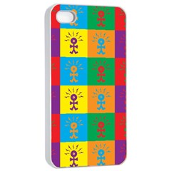 Multi Coloured Lots Of Angry Babies Icon Apple iPhone 4/4s Seamless Case (White)