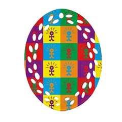 Multi Coloured Lots Of Angry Babies Icon Oval Filigree Ornament (2-Side)