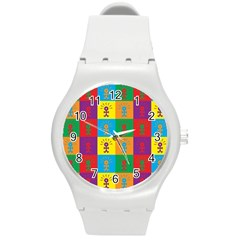 Multi Coloured Lots Of Angry Babies Icon Round Plastic Sport Watch (M)
