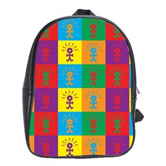 Multi Coloured Lots Of Angry Babies Icon School Bags (XL)