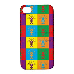 Multi Coloured Lots Of Angry Babies Icon Apple iPhone 4/4S Hardshell Case with Stand