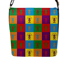 Multi Coloured Lots Of Angry Babies Icon Flap Messenger Bag (L)