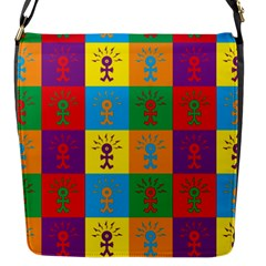 Multi Coloured Lots Of Angry Babies Icon Flap Messenger Bag (S)