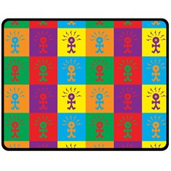 Multi Coloured Lots Of Angry Babies Icon Double Sided Fleece Blanket (Medium)