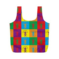 Multi Coloured Lots Of Angry Babies Icon Full Print Recycle Bags (M)