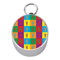 Multi Coloured Lots Of Angry Babies Icon Mini Silver Compasses