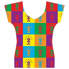 Multi Coloured Lots Of Angry Babies Icon Women s V-Neck Cap Sleeve Top