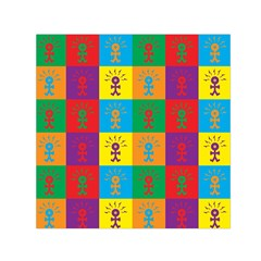 Multi Coloured Lots Of Angry Babies Icon Small Satin Scarf (square)
