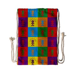 Multi Coloured Lots Of Angry Babies Icon Drawstring Bag (Small)