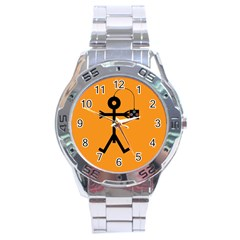 Video Gaming Icon Stainless Steel Men s Watch