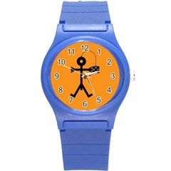 Video Gaming Icon Round Plastic Sport Watch (S)